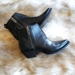 Frye Shoes - Frye Sacha Moto Shortie Black Leather Ankle Boots